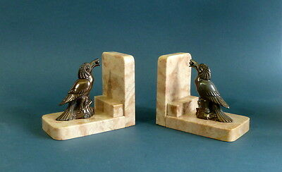 Art deco bookends marble  with birds