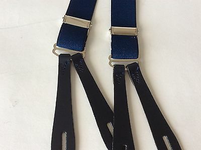 1940's Style Blue , Black Leather End Button Braces 25mm