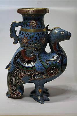 Large Old Chinese Gilt Cloisonne Figure of a Phoenix with Vase