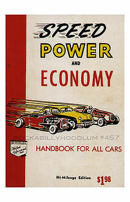 New Hot Rod Poster 11x17 Speed Power and Economy Handbook Cover Art Drag Racing