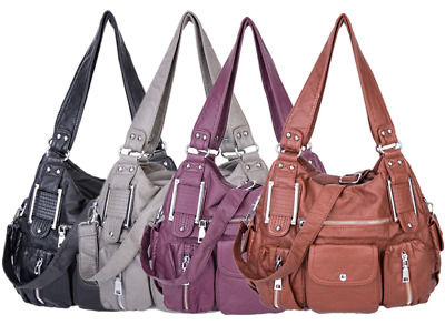 Soft Ladies Washed PU Leather Tote Purse Handbags Women Cross body Shoulder Bags