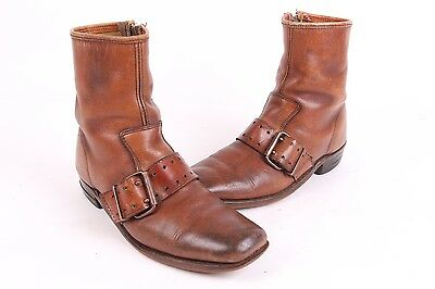 Vtg 60S Leather Ankle Buckle Zip Up Beatle Boots Mens 9.5 D