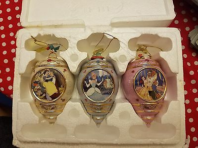 RARE Bradford Exchange Disney Princess 3 Ornament Set Beauty and the Beast