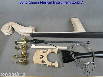 3/4 Upright Bass part:neck,fingerboard,bridge,tailpiece,Germany style pegs etc.