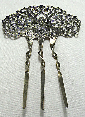 Antique Etched Sterling Victorian Hair Ornament Comb Accessory  BE461