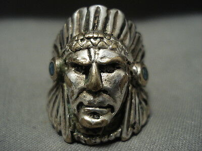 Exceptionally Detailed Vintage Navajo 'indian Head' Silver Ring