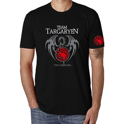 Game of thrones Printed Short Sleeve Men's Funny T-shirts Black Cotton Tee Tops