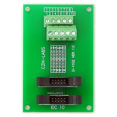IDC-10 2x5pins 2.0mm Dual Male Header Breakout Board, Screw Terminal Connector.