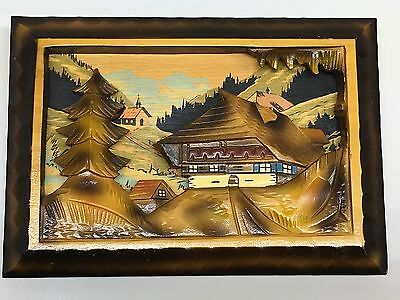 """Vintage German Black Forest Hand Carved 9""""x 6.5"""" Wooden Diorama Made in Germany"""