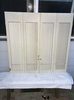 "1-Sets Vintage Interior Wood Window Shutters Louvered Plantation 42"" x 41"""