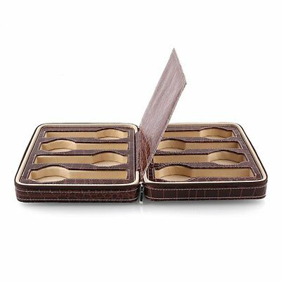 Amzdeal 8 Slots Watch Display Box, Zippered Luxury Leatherette Crocodile Pattern