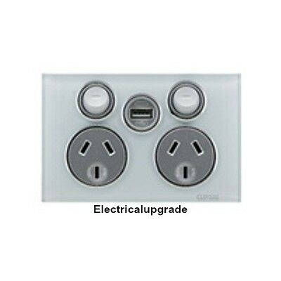 Clipsal Saturn Offer Double Power Point 4025USBC With USB Charger in Ocean Mist