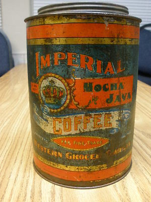 Vintage 1920's Imperial Coffee tin 2 lbs Mocha Java Western Grocer Company