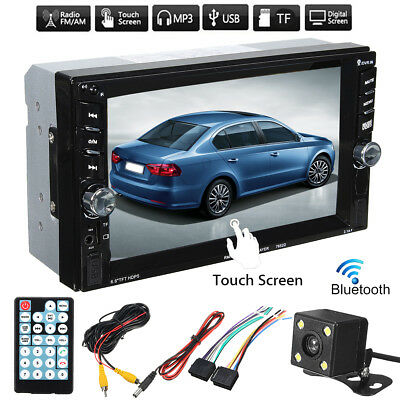 2 Din Bluetooth Car Stereo 6.6'' Radio Audio FM SD MP3 MP5 Player USB W/Camera