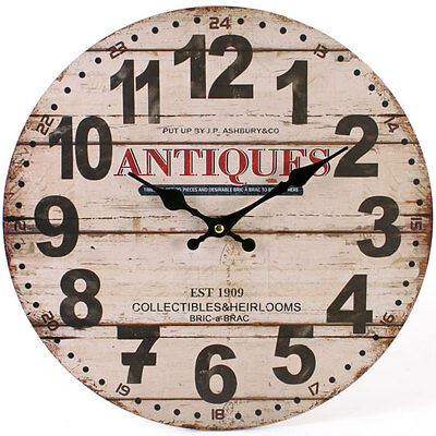Country Vintage Style Shabby Chic Antiques Wall Clock - NEW IN BOX
