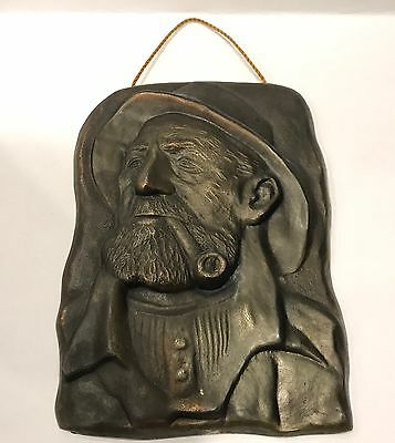 Antique Cast Iron Art Plaque Sailor Smoking Pipe - Stamped Denmark