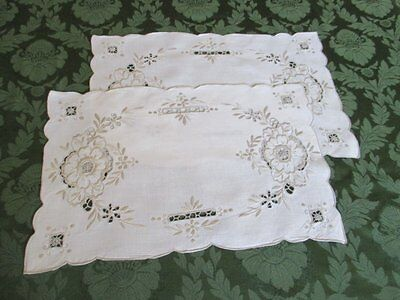 Pair Vintage Tray Cloths - Madeira Hand Embroidered - Linen