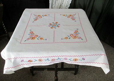 Vintage Tablecloth Hand Embroidered  Flowers - Irish Linen