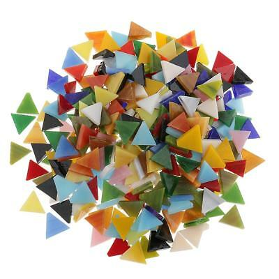 300x Colorful Triangle Glass Pieces Mosaic Tiles Tessera for Art Craft 12mm