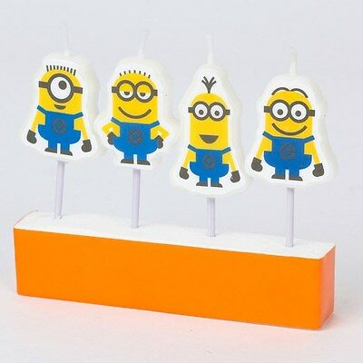 Despicable Me Minions Mini Figure Candles Pack Of 4 Birthday Party Supplies