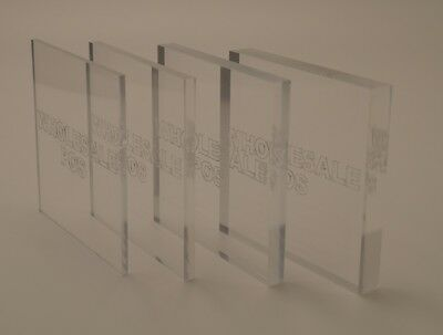 Perspex Acrylic Glazing Material A4 4MM Clear Plastic Sheet Pack of 4 Panels