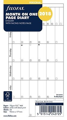 Filofax Personal Horizontal Month Per Page English 2018 Diary Refill 18-68405