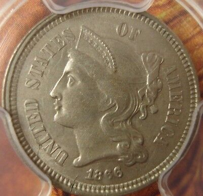 1866 Three Cent Nickel PCGS MS 62 Uncirculated 31832102 08132017