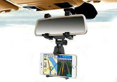 Car Rear View Mirror Mount Holder Stand Cradle Bracket For Samsung Mobile Phone