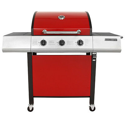 Charles Bentley Stainless Steel 3 Burner Gas BBQ Barbecue Garden Grill - Red