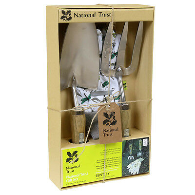 National Trust Double Gift Set With Hand Fork Hand Trowel and Soft Cotton Gloves