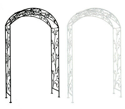 Charles Bentley Garden Arch in White or Black Made of Wrought Iron