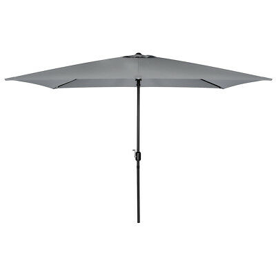 Charles Bentley 3m x 2m Rectangular Outdoor Garden Parasol Umbrella - Light Grey