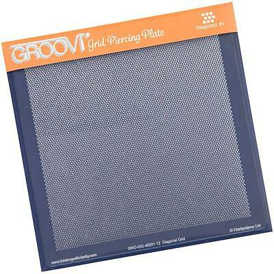 CLARITY STAMP GROOVI Parchment Grid Piercing Plate DIAGONAL #1 GRO-GG-40201-12