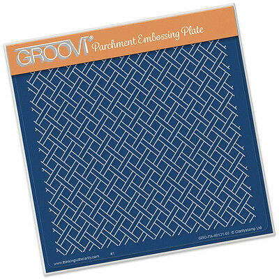 CLARITY STAMP GROOVI Parchment Embossing Plate WOVEN TRELLIS GRO-PA-40131-03