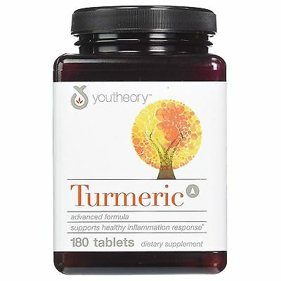 Youtheory Turmeric Advanced Formula Curcumin C3 Bioperine Supplement 180 Tablets