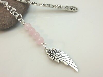 Rose quartz bookmark metal silver pink gemstone guardian angel wing new age gift