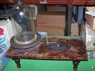 Antique Welch Wood & Iron Vacuum Table with 13'' tall Bell Jar From Old School
