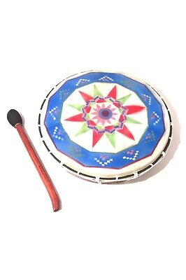 Painted Shamanic Drum (Large) 40cm. Crossed Rope Handle and Beater