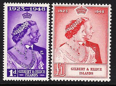 Gilbert & Ellice 1948 Royal Silver Wedding Sg 57-58 Mint.