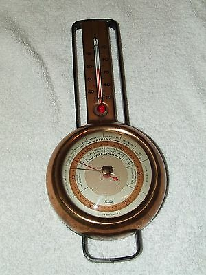 Antique 1927 Taylor Stormoguide Weather Station Deco Wall Barometer Thermometer
