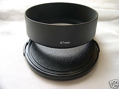 New Metal Standard 67mm Screw-in Lens Hood + Cap