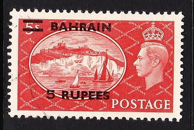 BAHRAIN 1950 5r ON 5/- RED SG 78 FINE USED.