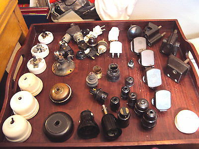Vintage Light Switches Fittings Plugs Adaptors Bakelite Ceramic Brass Copper