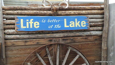 Life is better at the Lake/Rustic Wood Sign/Fishing/Camping/Cabin/Vintage/Boat