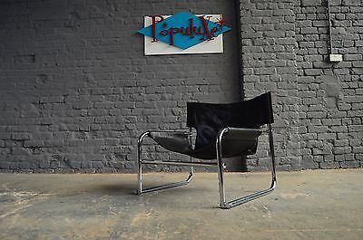 Vintage Retro Mid Century OMK T1 Sling Chair Chrome Black Leather
