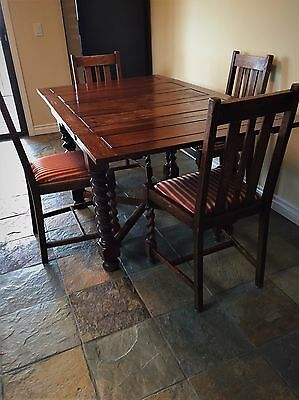 Antique English Draw Leaf Pub Table and Four Chairs