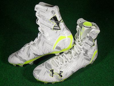 New Mens Under Armour UA Highlight MC Lacrosse Football Cleats White Yellow 10.5