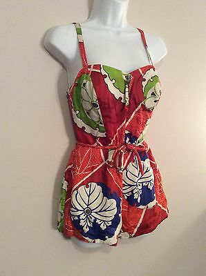 Vintage Kamehameha 1950s Hawaiian Print Floral Bathing Suit Size Small