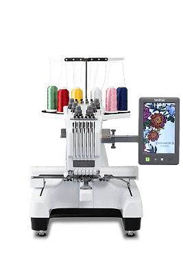 Brother PR655 Industrial Embroidery Machine, USB Ports, 6 needle, 1000 SPM