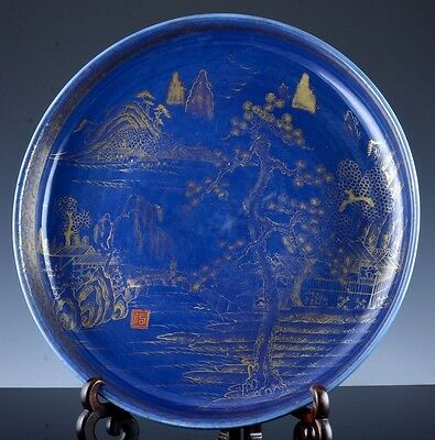 Ex.large 19Thc Chinese Powder Blue Glazed Scenic Landscape Charger Plate Signed